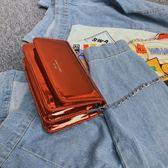 超火果凍包斜背鏡面小方包新款小包包鍊條單肩郵差包女包