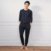 【GIORDANO】男裝輕磨毛薄長袖束口家居服套裝(兩件裝) - 09 標誌黑