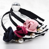 髮箍 韓國氣質女伶薔薇花珍珠緞帶 髮箍