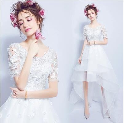 新款性感蕾絲花朵透視前短後長款拖尾新娘婚紗禮服YY1897『毛菇小象』