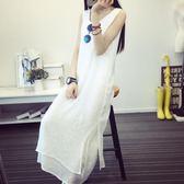 中大尺碼 無袖洋裝夏季文藝棉麻吊帶白色亞麻長款打底連身裙 KB4500  【歐爸生活館】