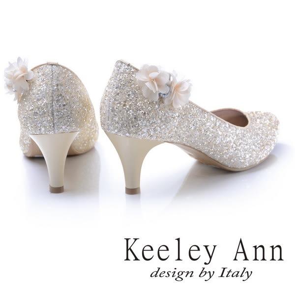 ★2017秋冬★Keeley Ann甜美新娘可拆式晶鑽花兒飾釦真皮軟墊中跟鞋(金色) -Ann系列