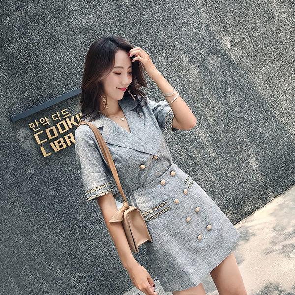VK旗艦店 韓國小香風修身顯瘦雙排扣OL西裝領套裝短袖裙裝