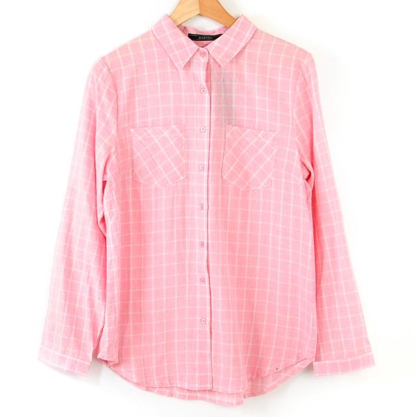 【MASTINA】粉底白線方格襯衫-粉  冬末好康