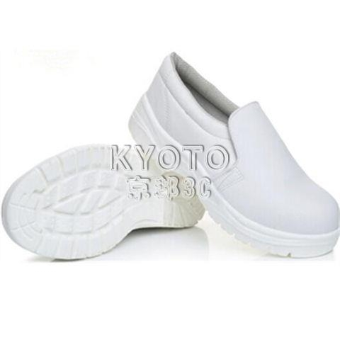 快速出貨防靜電鞋防砸勞保鞋安全鞋白色PU鋼包頭藍條安全長筒靴防砸耐