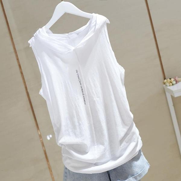 無袖T恤 2021夏新款打底純白色連帽背心女彈力寬鬆竹節棉外穿吊帶無袖T恤