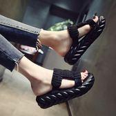 拖鞋女 鬆糕厚底拖鞋女夏季新款時尚外穿舒適高跟涼拖一字拖百搭女鞋涼鞋·夏茉生活
