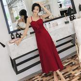 洋裝—夏季新款時尚甜美荷葉邊吊帶高腰顯瘦長款A字連身裙休閒長裙 依夏嚴選