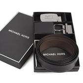 Michael Kors MK雙釦頭雙面用皮帶禮盒組(黑咖)618151-2