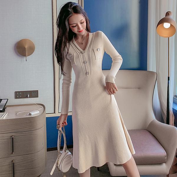絕版出清 韓系收腰修身針織顯瘦性感V領鑲鉆長袖洋裝