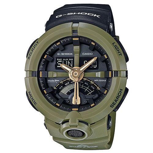 G-SHOCK 前衛時尚渾圓帥氣風格城市運動概念錶-黑X綠