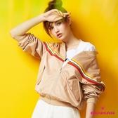【SHOWCASE】運動風橫織帶短版夾克外套(卡其)