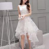 公主裙成人歐根紗禮服夏白色甜美韓版蓬蓬裙燕尾裙前短後長洋裝   草莓妞妞