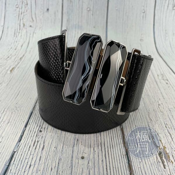 BRAND楓月 FENDI 芬迪 8C0360 黑色 銀扣頭 寬版腰封 80公分 腰帶 造型配件