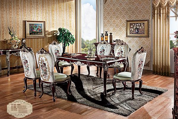 [紅蘋果傢俱] HT-803 新古典系列 實木雕花 歐式 法式 奢華 餐桌椅組 工廠直營
