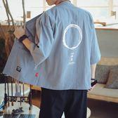 中國風男裝唐裝 漢服日式道袍 和風和服 大尺碼復古七分袖夏季 降價兩天