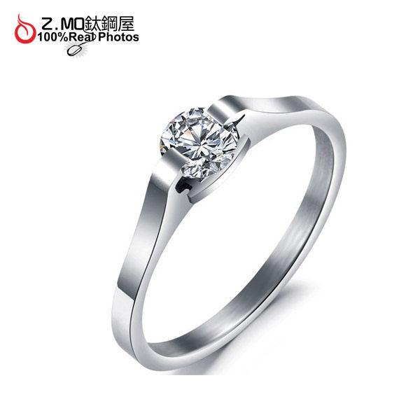 [Z-MO鈦鋼屋]鈦鋼水鑽寶石戒指/求婚鑽戒/告白禮物/女性韓版戒指單件價【BKS254】
