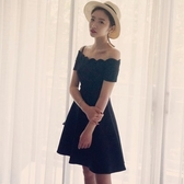 洋裝-情人節穿搭一字領高貴典雅純色時尚連身裙73ha13【巴黎精品】