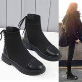ins馬丁靴女短筒2019新款秋冬季英倫風網紅小短靴瘦瘦加絨襪子靴