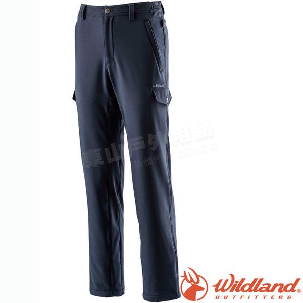 Wildland 荒野 0A22312-72深藍 男Softshell貼袋合身褲 保暖機能褲/戶外休閒長褲/防風透氣工作褲