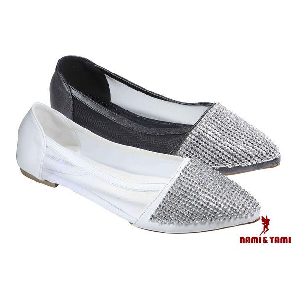 【Nami&Yami】㊣日本空運✈ 亮眼晶鑽性感簍空蕾絲平底尖頭鞋(白/黑)