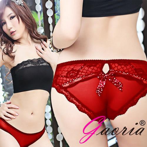 【魔法之夜】【Gaoria】野味甜心 透明網紗三角內褲 紅T-001