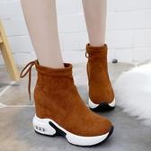 厚底增高鞋女內增高短靴女秋冬百搭厚底10cm顯瘦彈力靴坡跟松糕氣墊底襪子鞋潮