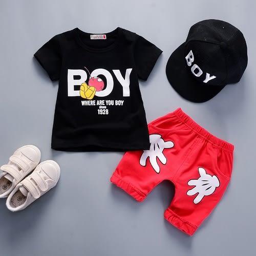 短袖套裝 米奇 卡通造型上衣 +棉短褲 寶寶童裝 CK11753