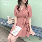 洋裝 復古一片式繫帶連身裙氣質收腰A字裙 超值價