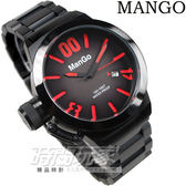 MANGO HOMME 造型大數字 男錶 可鎖式錶冠 IP黑電鍍/紅色時刻 漸層面盤 MH10019M-15 防水手錶