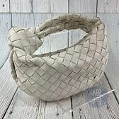 BRAND楓月 Bottega Veneta BV 迷你款 編織格紋 皮革 皮質 羊皮 JODIE包 白色 手拿包