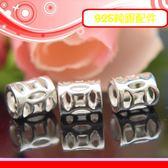 銀鏡DIY S925純銀材料/亮面精刻銅錢/古錢簍空造型銀管6.5mm(財源滾滾)~適合手作蠶絲蠟線