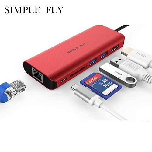 SIMPLE FLY SF330 TYPE-C TO HDMI+2*3.0USB+PD充電+RJ45 HUB+SD HUB 集線器