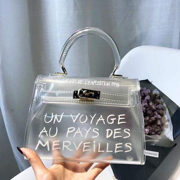 凱莉包包包女上新款凱莉包側背斜背包小包字母透明果凍包迷你手提包 迷你屋