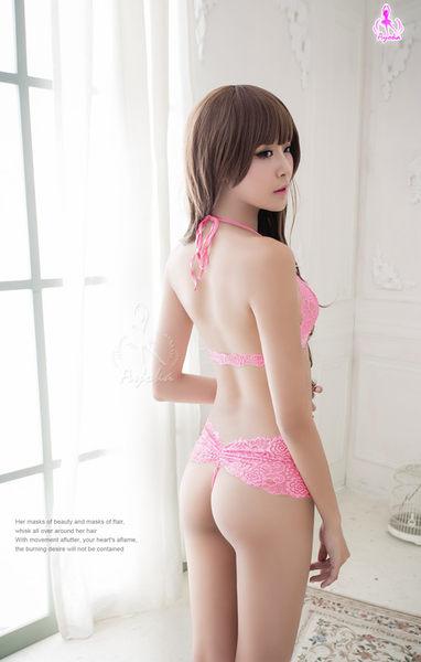 情趣內衣 浪漫粉緹花蕾絲比基尼二件組  (OS小舖)