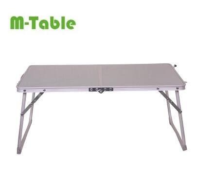 美桌戶外野營家用懶人電腦桌折疊桌子床上用餐桌便攜式加大款(拉絲灰)