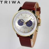 [萬年鐘錶】TRIWA 北歐瑞典設計Nevil系列Blue Face 雙環計時真皮 玳瑁紋X銀X藍 42mm NEAC109-CL010313