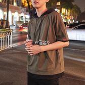 七分袖T恤男士韓版潮流假兩件連帽短袖學生寬鬆bf半袖衫五分袖 俏腳丫