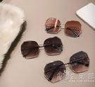2021年新品個性多邊形無框旅行太陽鏡女韓版大框時尚潮流街拍墨鏡 小時光生活館
