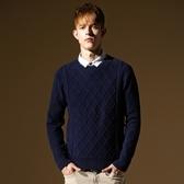 長袖針織衫-簡約穩重素面設計搭男針織毛衣73ik4[時尚巴黎]