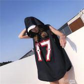 無袖t恤女怪味少女上衣嘻哈黑色寬鬆hiphop酷潮 道禾生活館