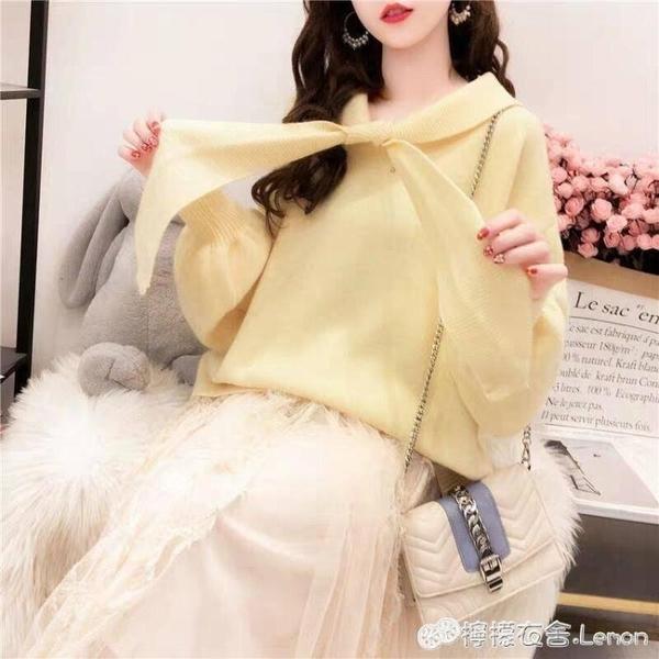 秋季新款寬鬆系帶毛衣女套頭小清新很仙的針織衫上衣外搭短款 檸檬衣舎