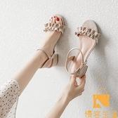 涼鞋女夏百搭時裝中跟粗跟一字扣帶仙女風女鞋【慢客生活】