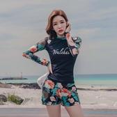 韓國潛水服女分體平角泳裝遮肚顯瘦保守泡溫泉防曬浮潛長袖游泳衣