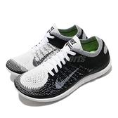 Nike 慢跑鞋 Wmns Free 4.0 Flyknit 黑 白 女鞋 赤足輕量 編織鞋面 運動鞋 【ACS】 631050-100