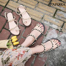 PAPORA繞腳珍珠腳環涼鞋K2823黑