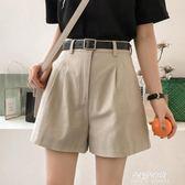 短褲女夏新款高腰a字闊腿褲韓版學生ulzzang西裝休閒褲子  朵拉朵衣櫥