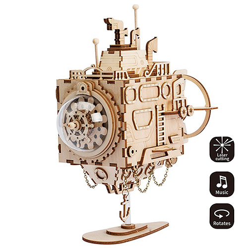 《 Robotime  》3D木製拼圖 - AM680 Submarine╭★ JOYBUS玩具百貨