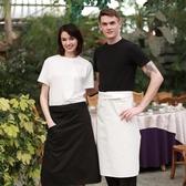 廚師圍裙男士餐廳酒店短款圍腰廚房半截圍裙餐飲工作黑色半身圍裙【快速出貨】