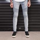 新品特惠# 男士外貿爆款biker jeans男式外貿機車牛仔褲歐版拼接彈力機車褲